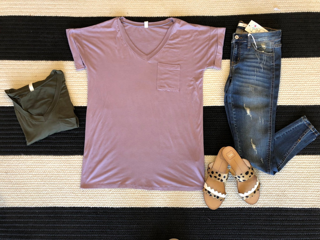 Basic V-Neck Tee in Olive and Mauve