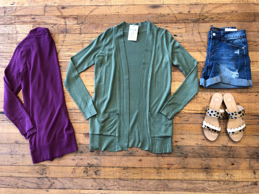 Basic Basic Ribbed Cardigan in Plum and Green