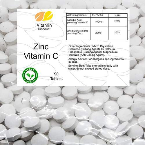 Zinc 20mg Vitamin C 100mg Supplement Tablets
