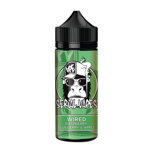 Serial Vapes, Wired, Raspberry, Blueberry, Apple, E-liquid,120ml, 100ml, shortfill