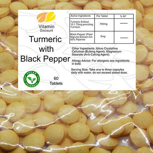 Turmeric 700mg Plus 5mg Black Pepper Supplement Tablets