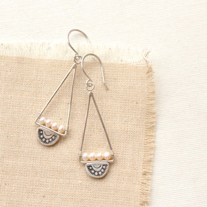 Wanderer Triangle Pearl Earrings