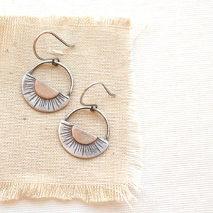Happy Half Sun Bronze and Silver Earrings