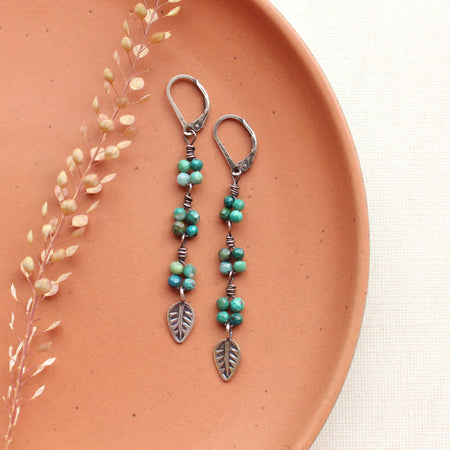 Amazonite and Labradorite Oxidized Silver Earrings