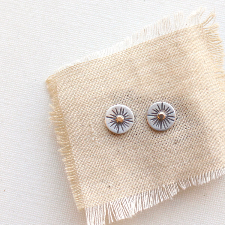 Little Rustic Sun Post Earrings 14k Gold and Silver