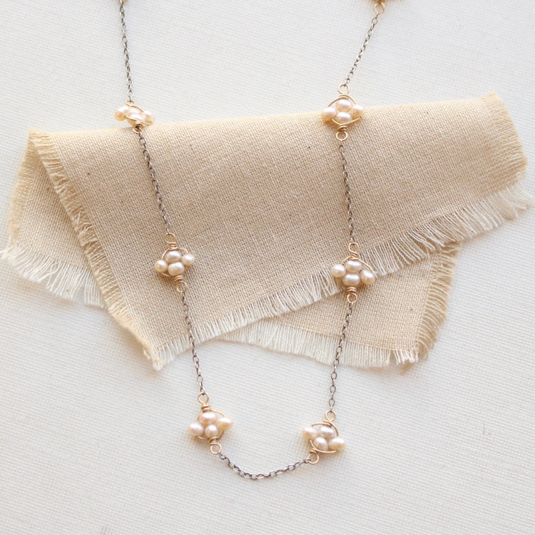 Pearl Satellite Mixed Metal Necklace