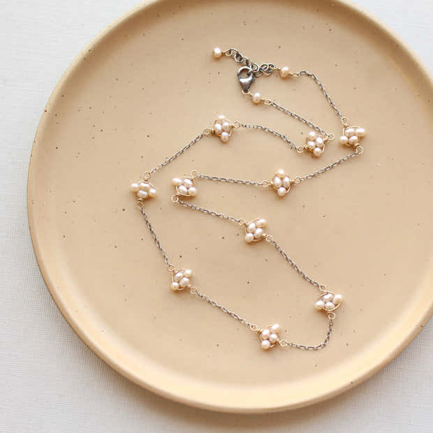 Pearl Satellite Mixed Metal Necklace 1