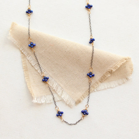 Lapis Satellite Mixed Metal Necklace