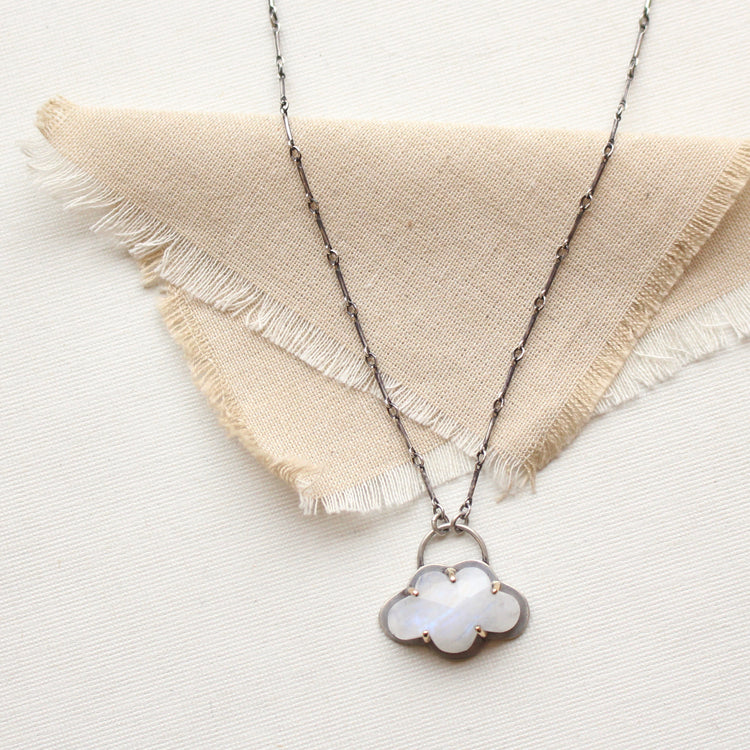 Moonstone Cloud Mixed Metal Necklace
