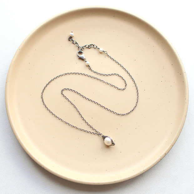 Perfect Pearl Wrapped Oxidized Silver Necklace 1