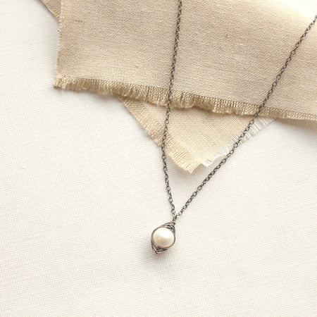 Perfect Pearl Wrapped Oxidized Silver Necklace