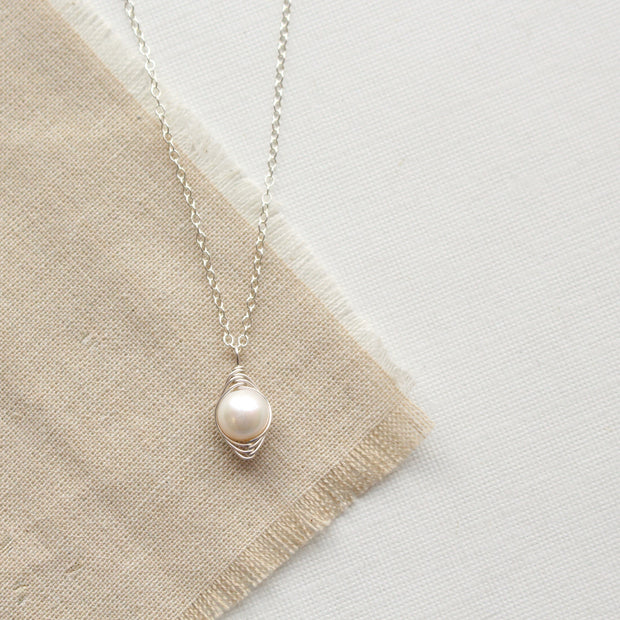Perfect Pearl Wrapped Silver Necklace 1