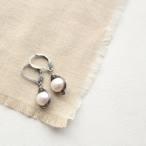 Perfect Pearl Wrapped Oxidized Silver Earrings