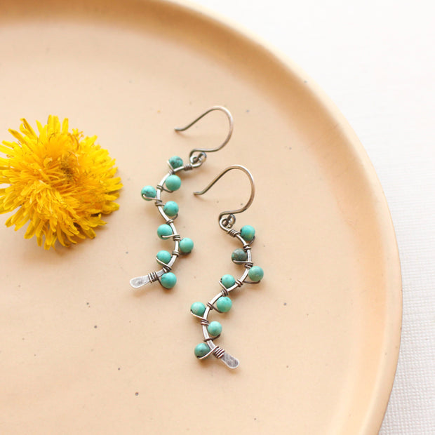 Turquoise Wrapped Oxidized Silver Vine Earrings 1