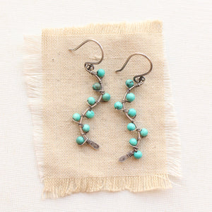 Turquoise Wrapped Oxidized Silver Vine Earrings