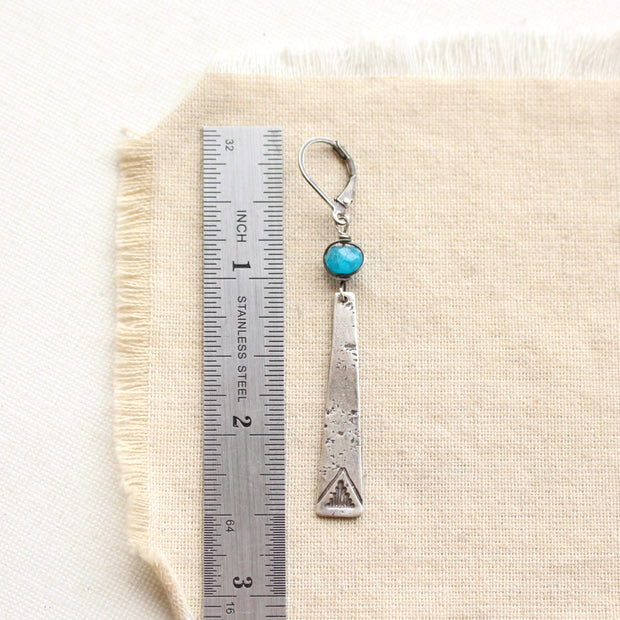 Turquoise Wrapped Hammered Oval Earrings 1