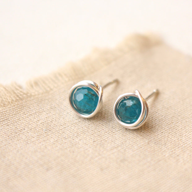 Wrapped Apatite Post Earrings 1