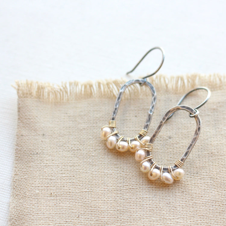Pearl Wrapped Mixed Metal Oval Earrings