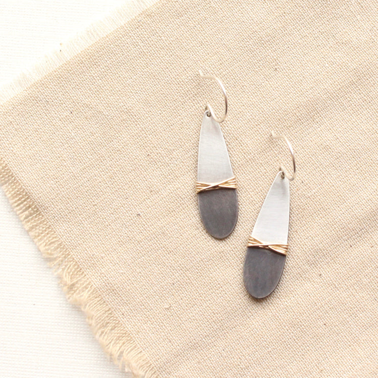 Dipped Silver Teardops with Gold Wire Wrap Earrings