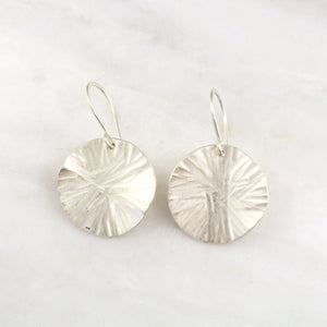 Wavy Hammered Silver Disc Earrings