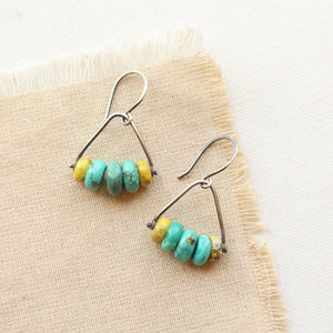 Mixed Turquoise Pinned Stirrup Earrings