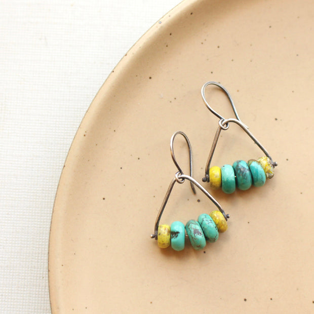 Mixed Turquoise Pinned Stirrup Earrings 1