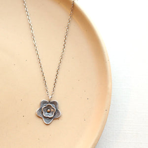 Layered Cactus Flower Mixed Metal Necklace