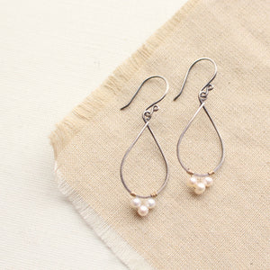 Pearl Wrapped Teardrop Mixed Metal Hoop Earrings