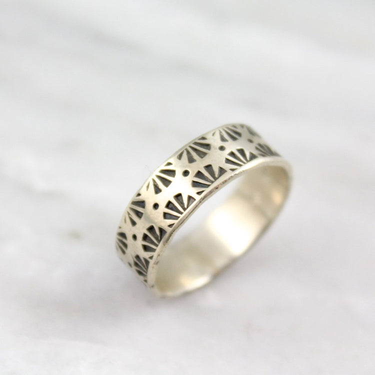 Native Sun Rays Stamped Silver Band Ring