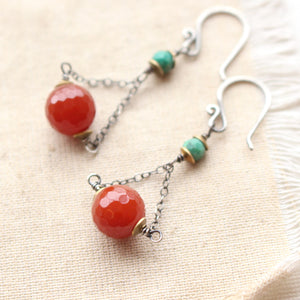 Southwest Lace Turquoise Dangle Earrings