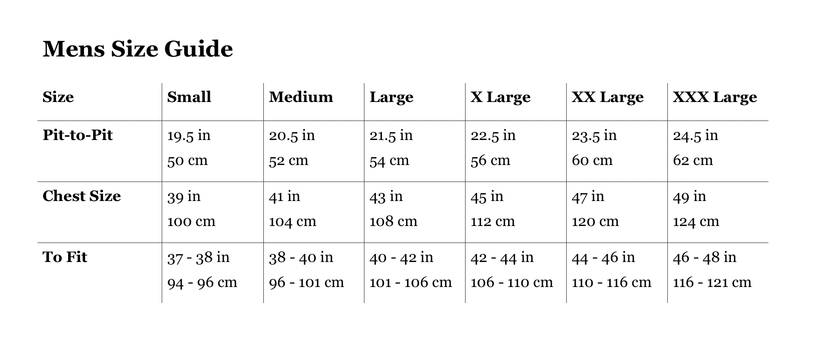 Robinsons Mens Size Guide