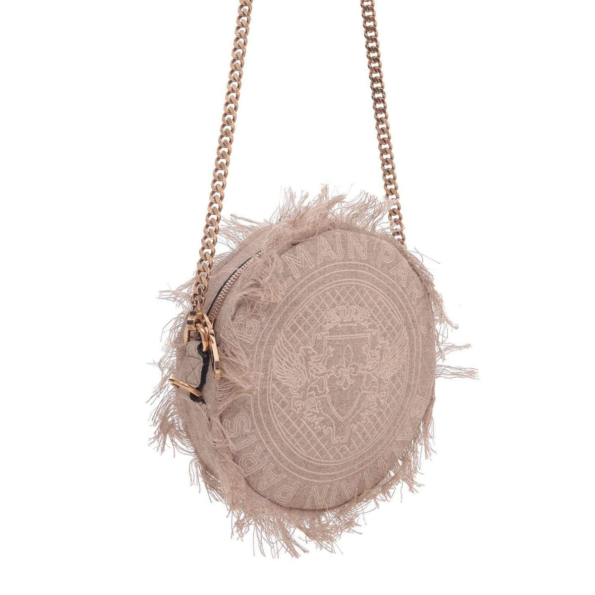 Balmain Ladies Beige Fringed Disco Bag