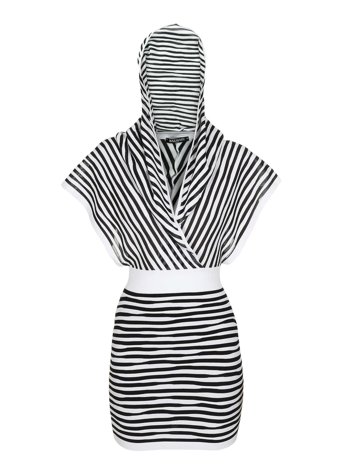 Balmain Ladies Hooded Striped Dress