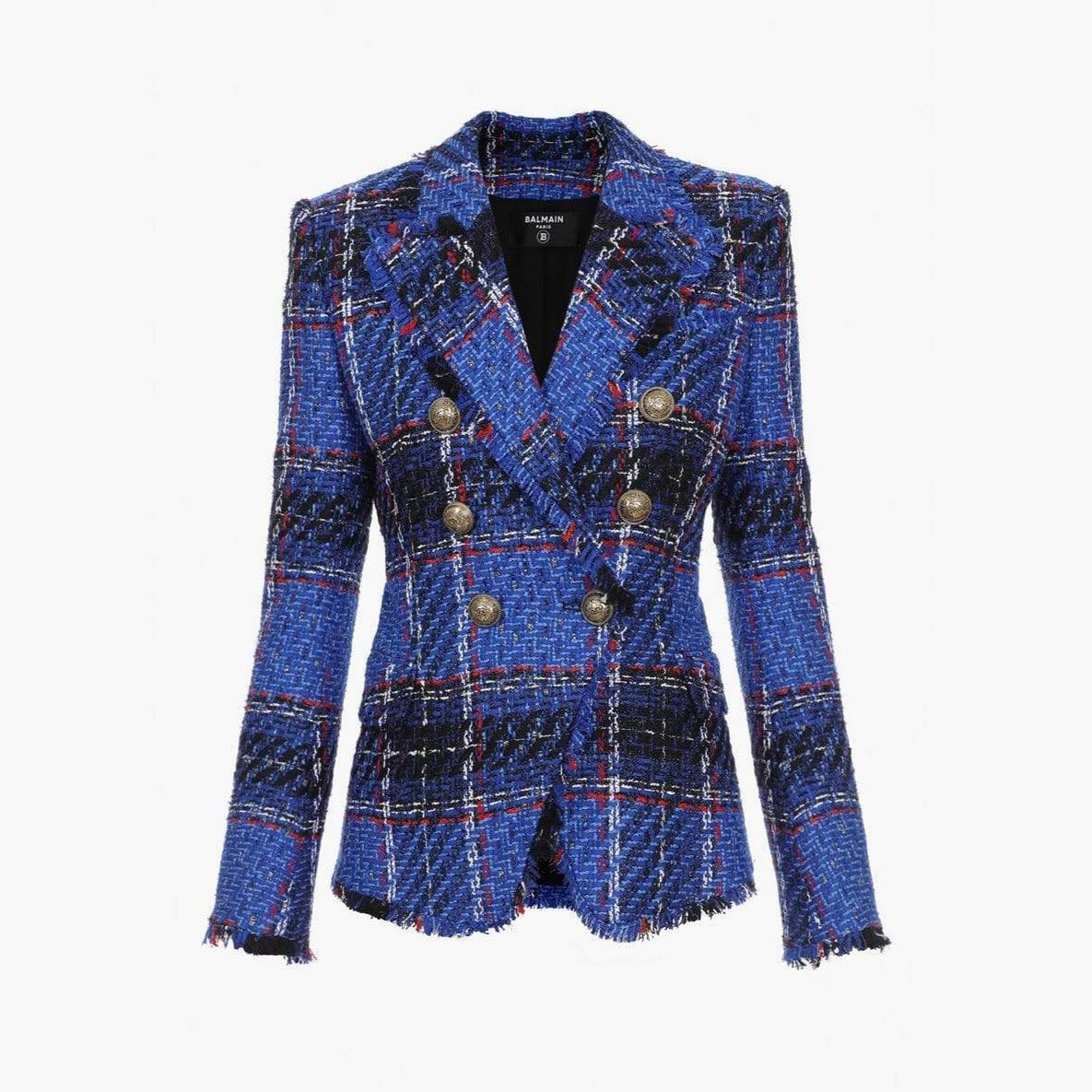 Balmain Blue Tartan Tweed Blazer With Double-Breasted Gold-Tone Buttoned Fastening