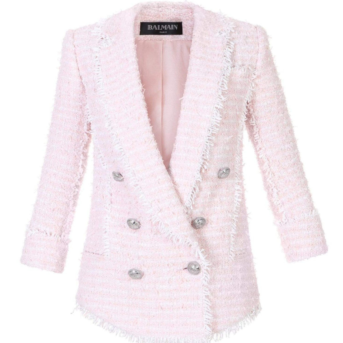 Balmain Ladies Pink Tweed Pyjama Style Blazer