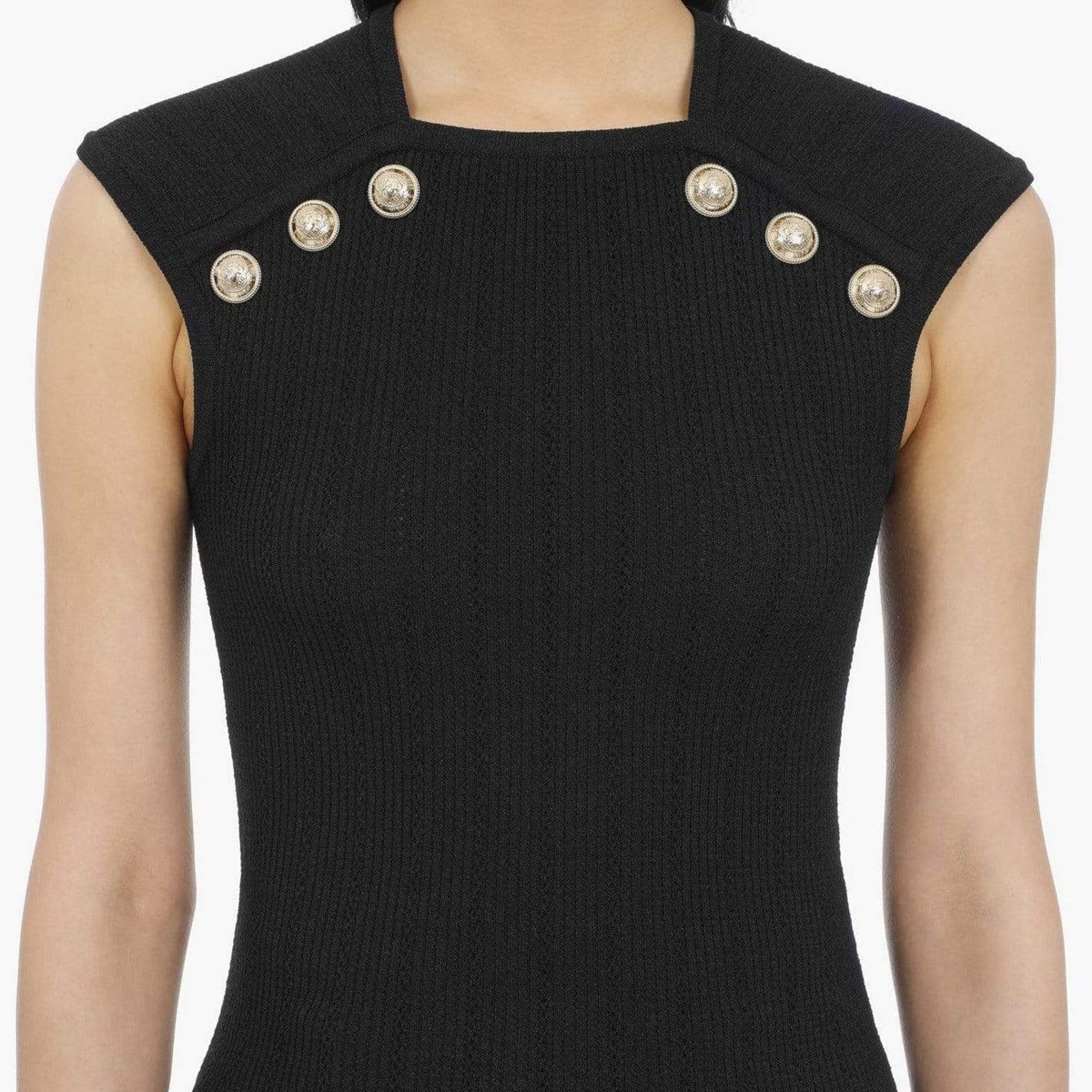 Balmain Knit Top With Gold-Tone Buttons