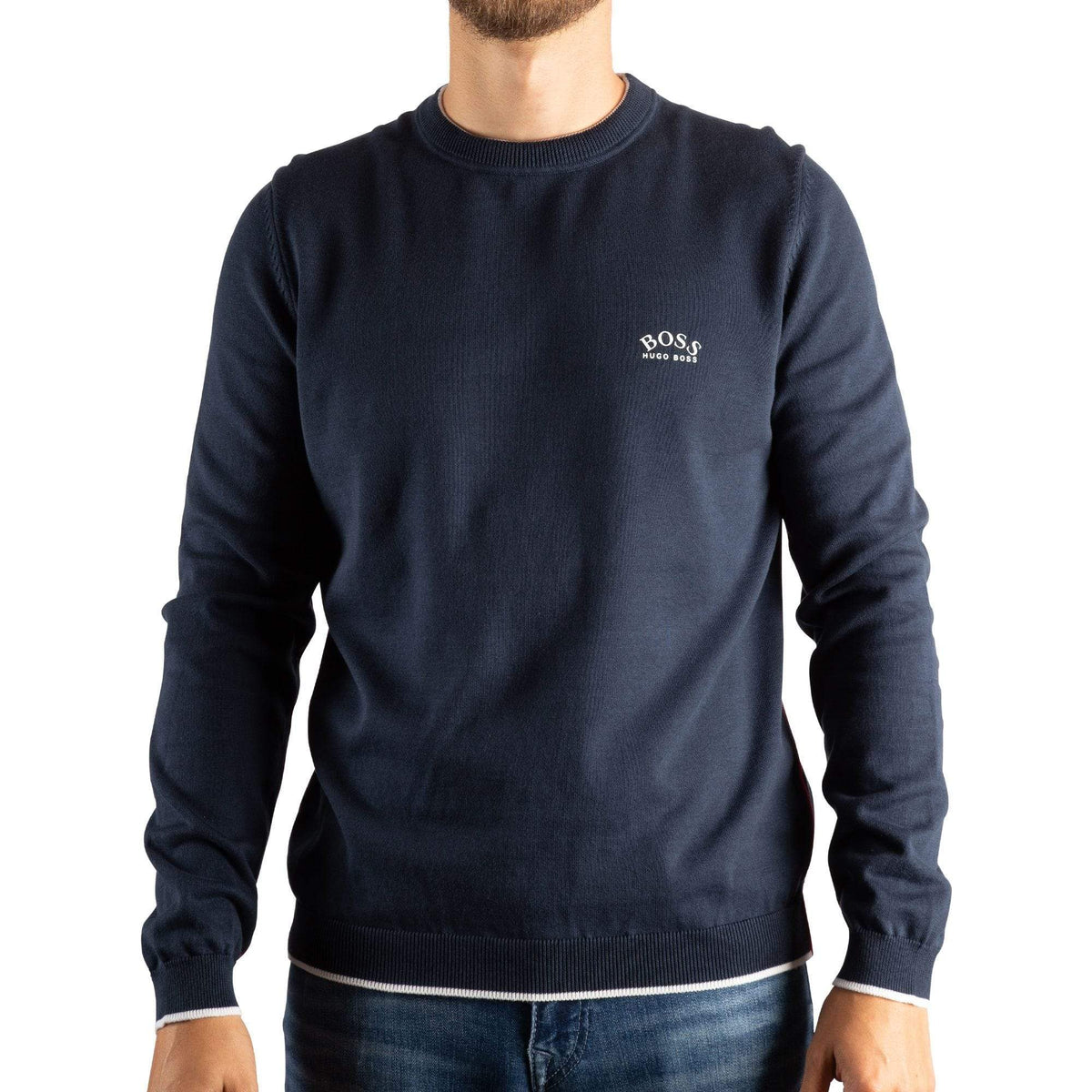 BOSS Crew-Neck Sweater In Organic Cotton With Contrast Piping