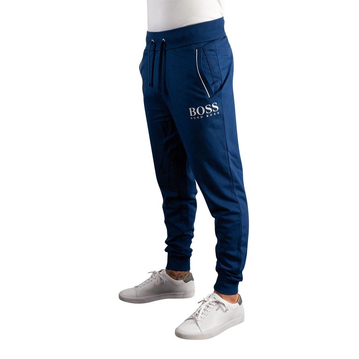 BOSS Cuffed Loungewear Trousers In French Terry With Printed Logo