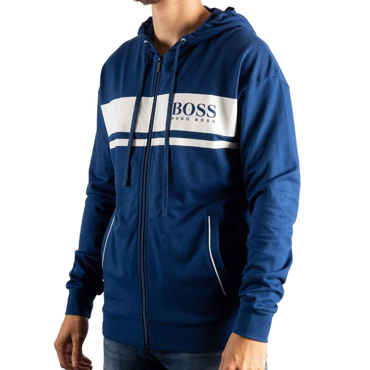 BOSS Hooded Loungewear Jacket In French Terry With Contrast Stripes
