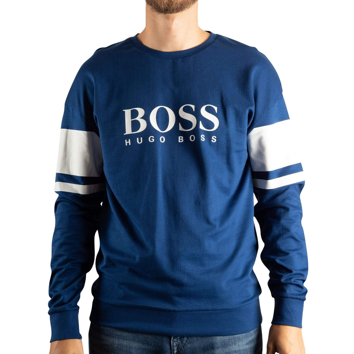 BOSS Logo Loungewear Sweatshirt In French Terry With Contrast Stripes