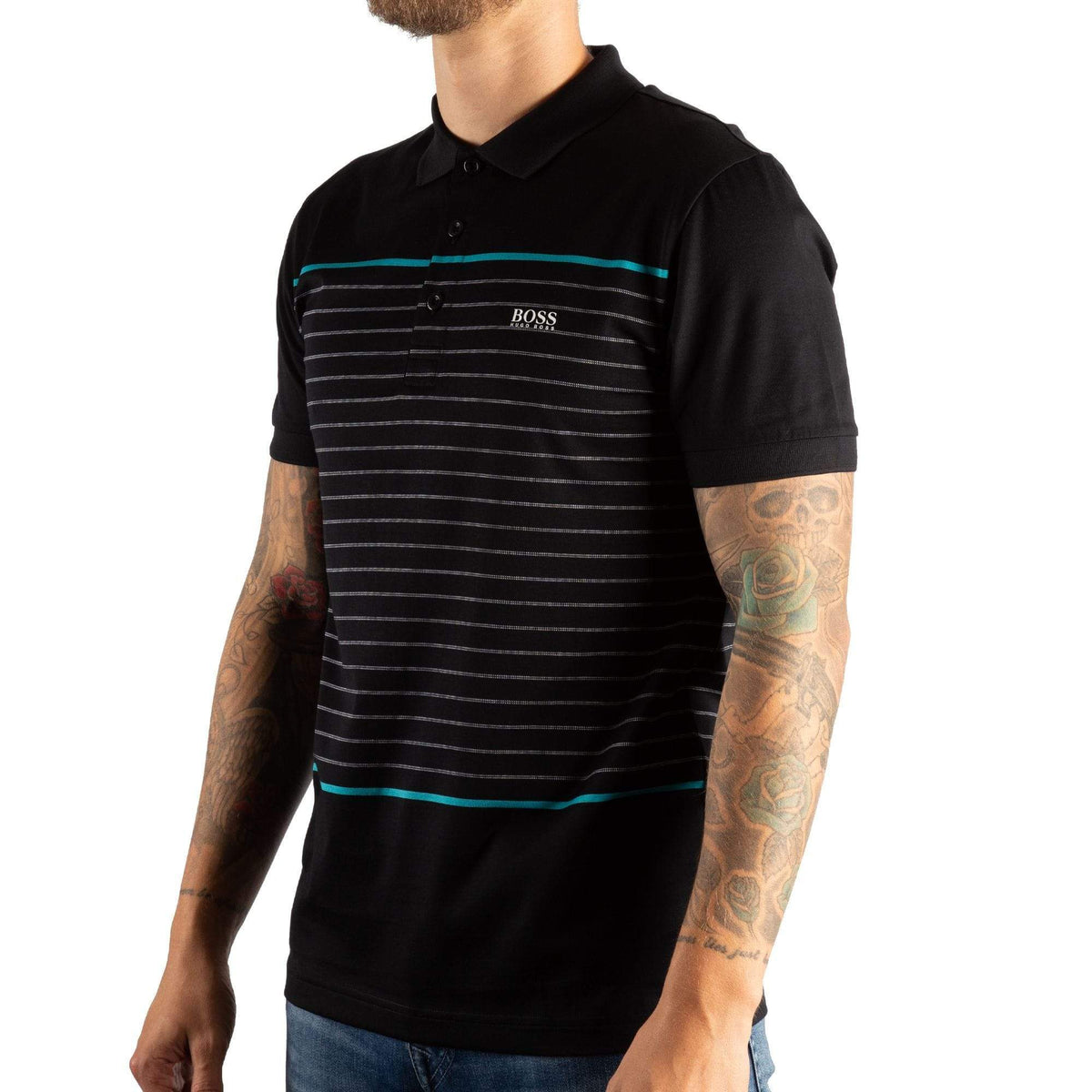 BOSS Slim-fit Polo Shirt In Cotton With Engineered Stripes