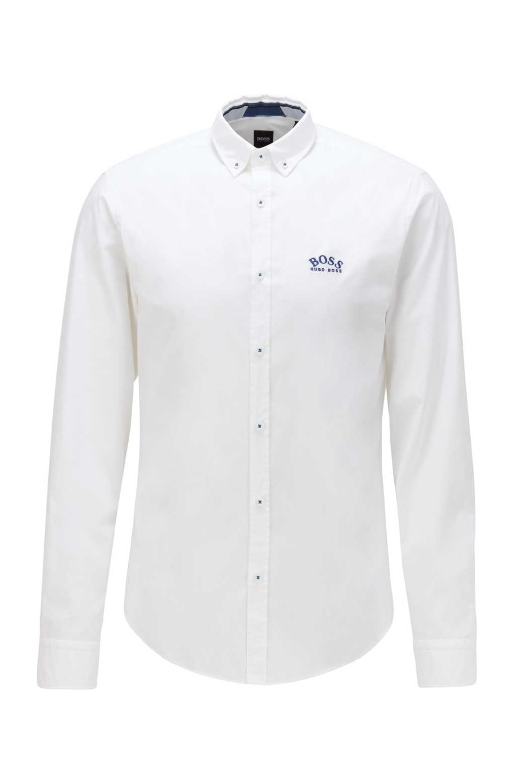 BOSS White Regular-Fit Button-Down Shirt In Stretch-Cotton Poplin