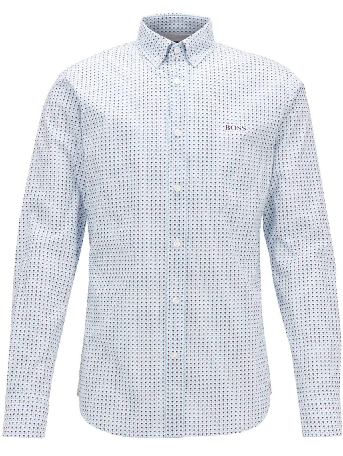 BOSS Patterned Slim-Fit Shirt In A Stretch-Cotton Blend