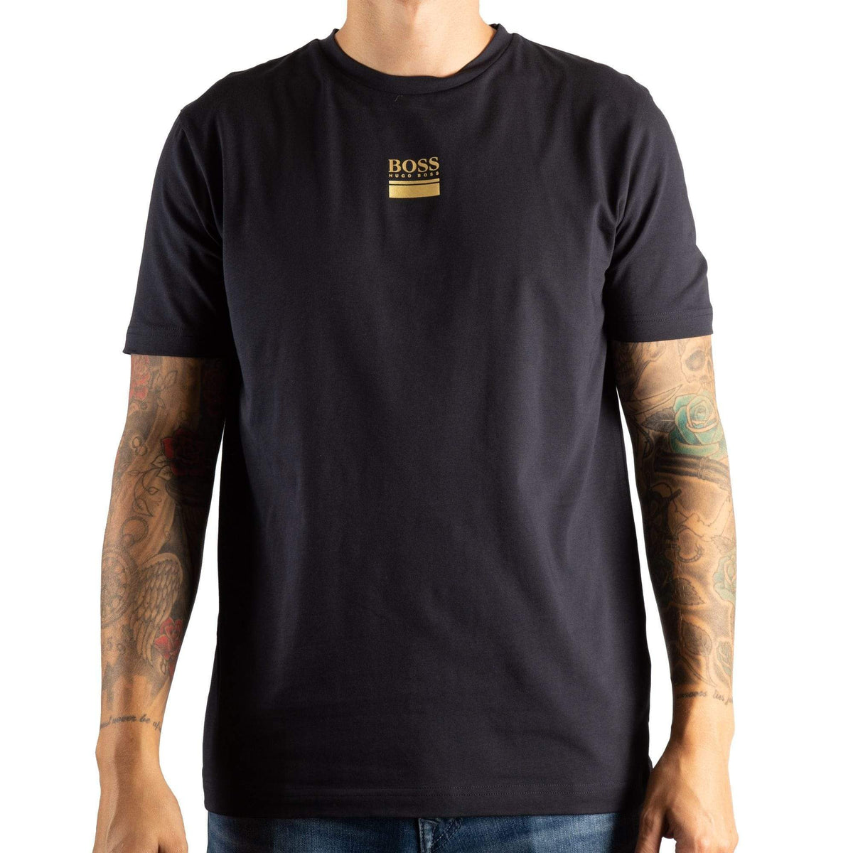 BOSS Crew-Neck T-Shirt In Stretch Cotton With Logo Print