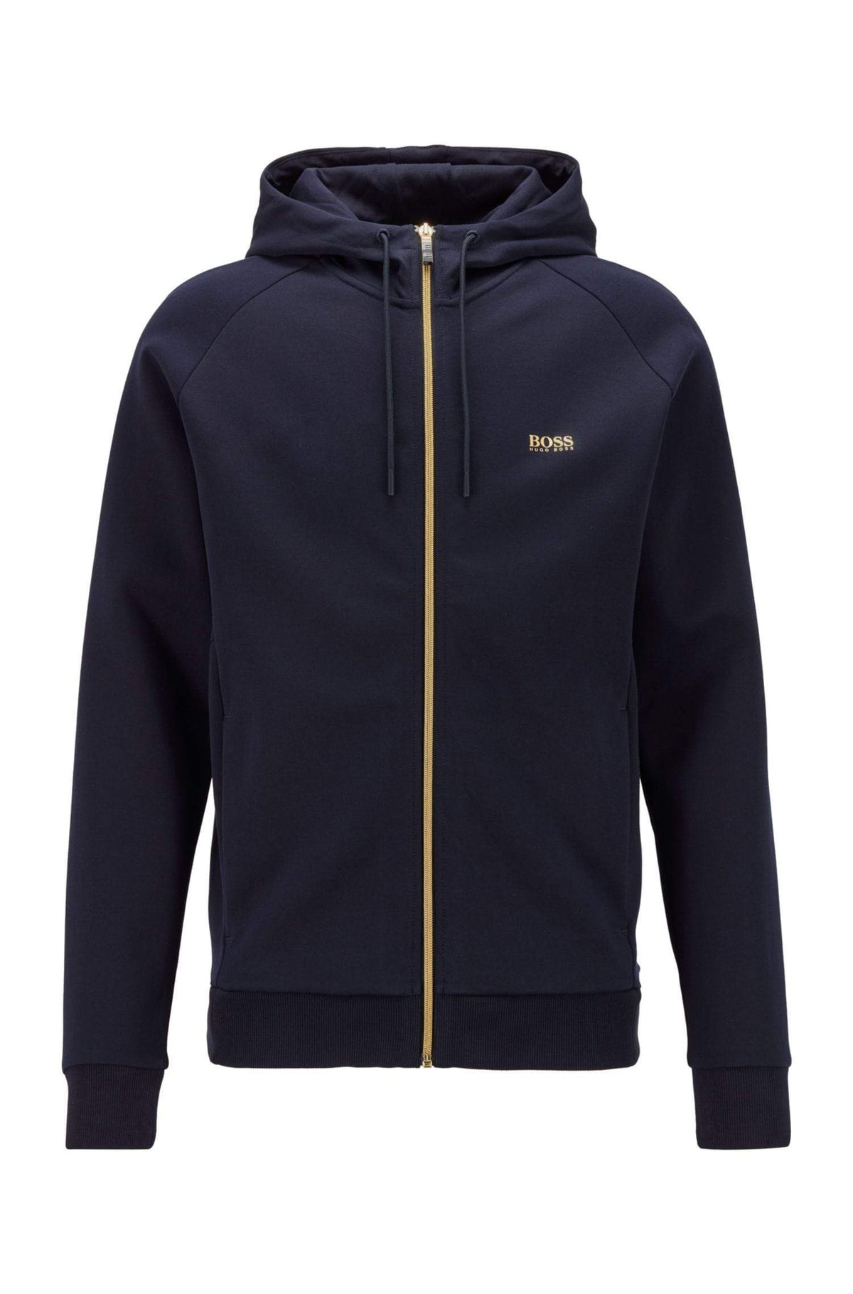 BOSS Logo-Print Hooded Sweatshirt With Contrast Zip