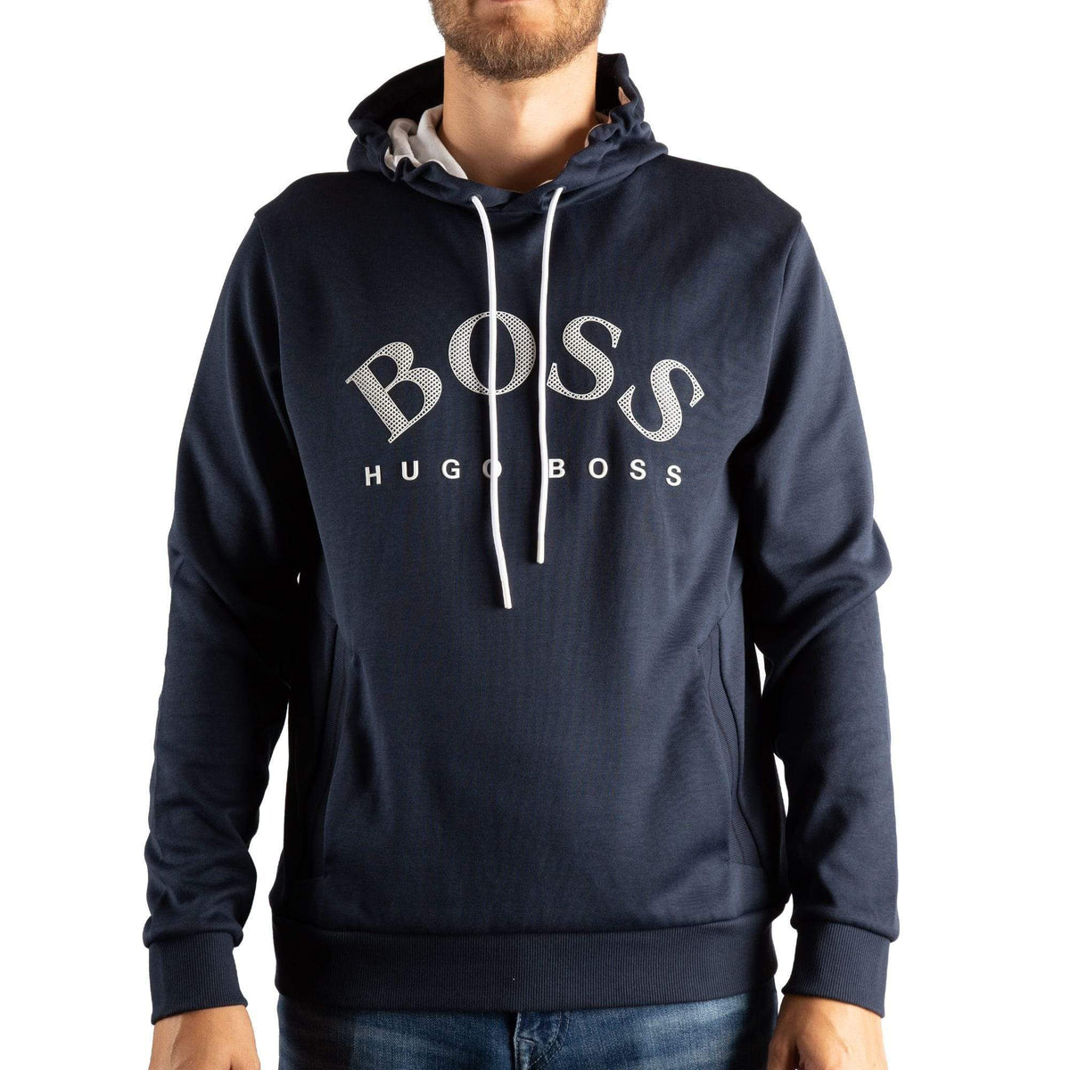 BOSS Logo-Print Hooded Sweatshirt In a Double-Faced Cotton Blend
