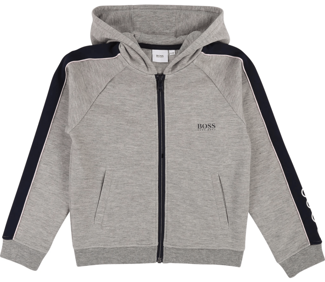 Boss Kids Girls Grey Zip-Up Hoody