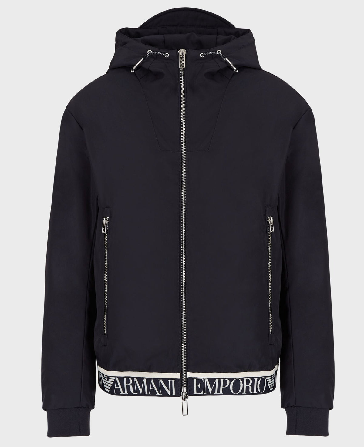 Emporio Armani Hooded Blouson With Logo Tape In Navy