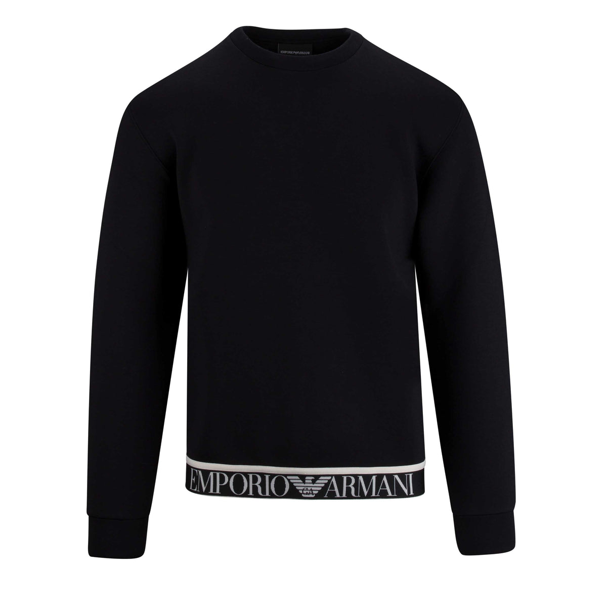 Emporio Armani Round Neck Sweatshirt With Logo Tape