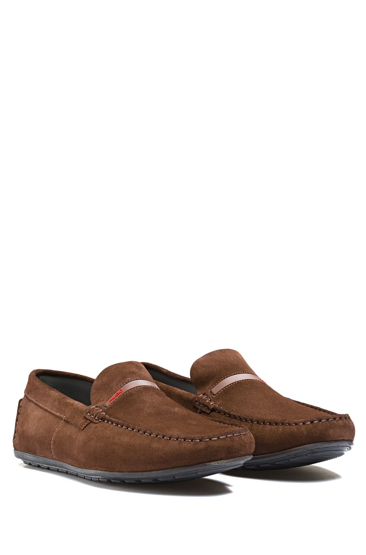 HUGO Hugo Boss Suede Moccasins With Logo Trim